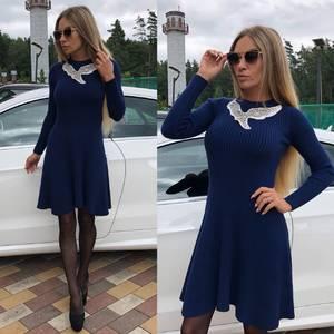 Платье короткое коктейльное синее Т8748