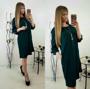 Платье короткое зеленое однотонное Т9865
