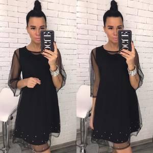 Платье короткое с рукавом 3/4 черное Х4041
