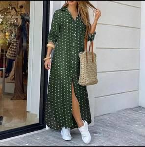Платье длинное в горошек А30188