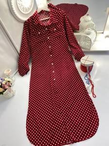Платье длинное в горошек А30190