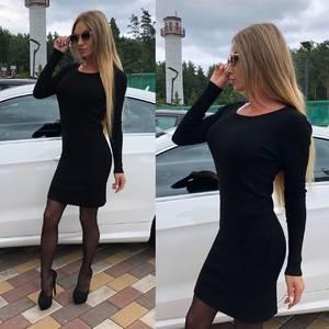 Платье короткое облегающее черное Т8743