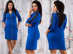 Платье короткое вечернее синее У9375