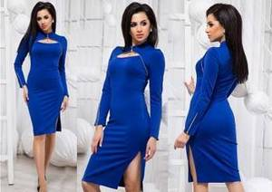 Платье короткое облегающее синее Ф3897