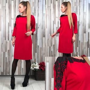 Платье короткое элегантное красное Т6547