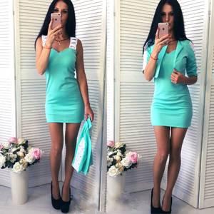 Платье Двойка короткое без рукавов современное Т6441