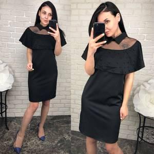 Платье короткое нарядное черное Т6535