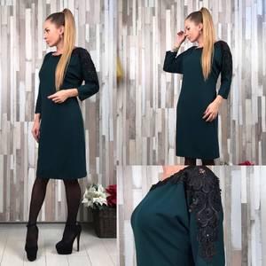 Платье короткое однотонное элегантное Т6548