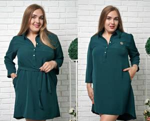 Платье короткое зеленое повседневное Т9890