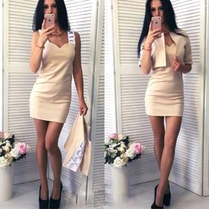 Платье Двойка короткое без рукавов современное Т6442