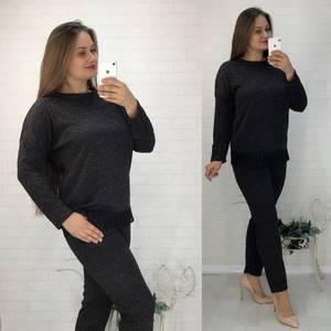 Костюм модный трикотажный черный Ф2058