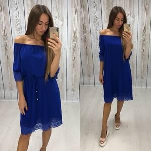 Платье короткое нарядное синее Т6459