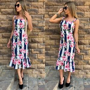 Платье длинное с принтом с открытыми плечами Т6466