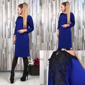 Платье короткое синее элегантное Т6549