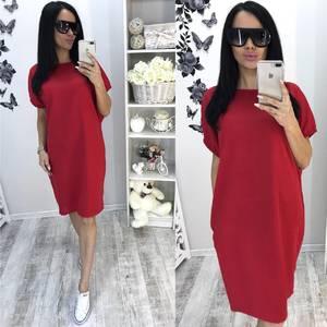Платье короткое классическое красное Т6457