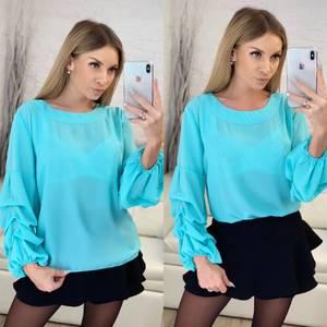 Блуза с длинным рукавом голубая Х2403