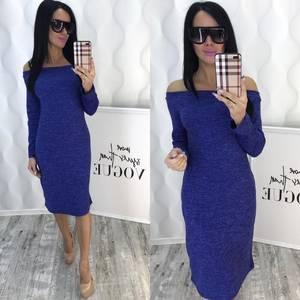 Платье короткое с длинным рукавом синее Х2485