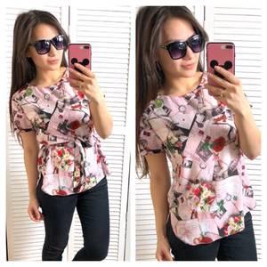 Блуза розовая с коротким рукавом Т1446
