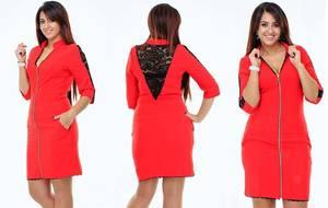 Платье короткое вечернее красное У9376