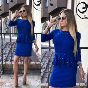 Платье короткое вечернее синее У0333