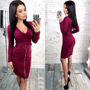 Платье короткое облегающее красное У9843