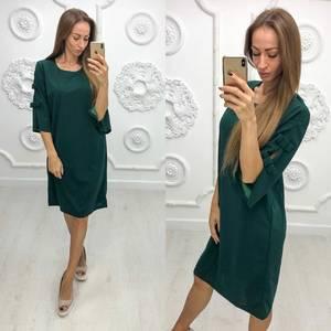 Платье короткое нарядное зеленое Ф1945
