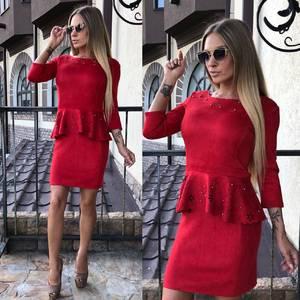 Платье короткое вечернее красное У0334