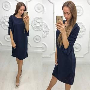 Платье короткое нарядное синее Ф1944