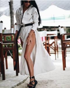 Платье длинное с разрезом на ноге А40047