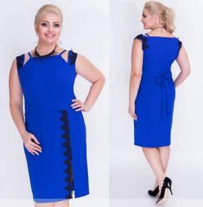 Платье короткое деловое синее Т7344