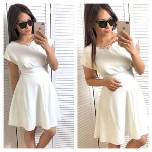 Платье короткое коктейльное белое Т4338