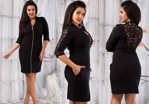 Платье короткое вечернее черное У9377