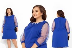 Платье короткое нарядное синее Х1329