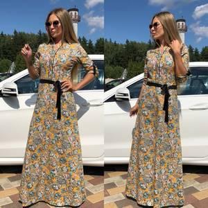 Платье длинное классическое с принтом Т9302