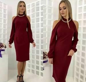Платье короткое с длинным рукавом современное Т9868