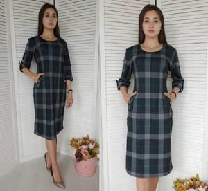Платье короткое с принтом деловое У9829