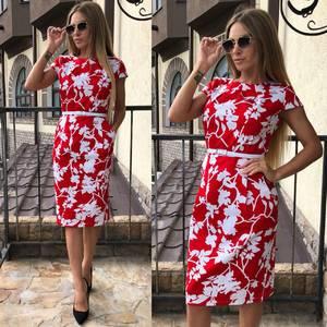 Платье короткое с принтом облегающее Т9288