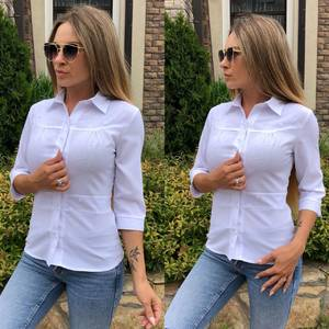 Рубашка однотонная белая Т9227