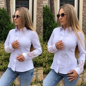 Рубашка с длинным рукавом белая Т9228