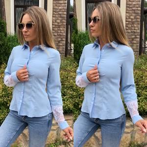 Рубашка с кружевом с длинным рукавом Т9233