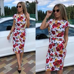 Платье короткое с принтом облегающее Т9293