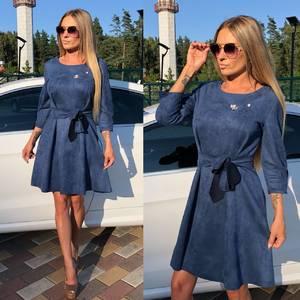 Платье короткое коктейльное синее У0331