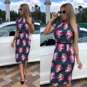 Платье короткое с принтом облегающее Т9296