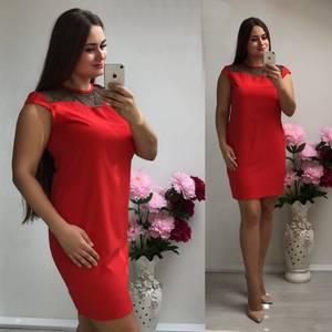 Платье короткое трикотажное красное Т7349