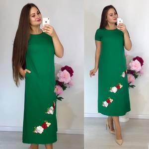 Платье длинное зеленое с принтом Т9173