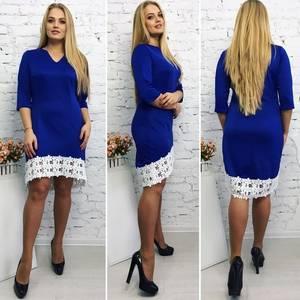 Платье короткое элегантное синее Т9214