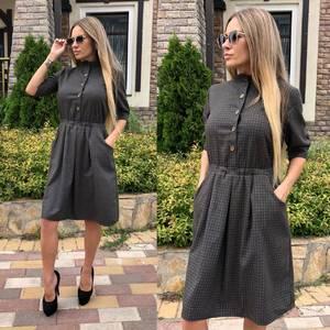 Платье короткое с рукавом 3/4 классическое Т9237