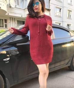 Платье короткое однотонное теплое Т9778