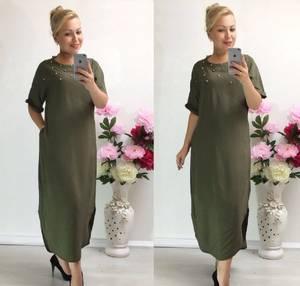Платье длинное зеленое повседневное Т9847