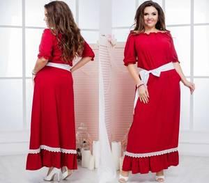Платье длинное красное нарядное Т6865
